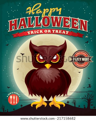 Vintage Halloween poster design with owl