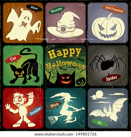 Vintage halloween poster, label design set - stock vector