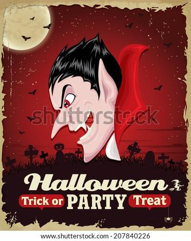 Vintage Halloween poster set design with vampire - stock vector