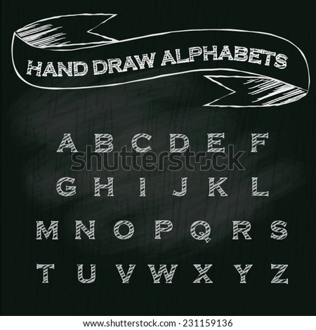 vintage hand draw alphabets on chalkboard background, vector illustration. - stock vector