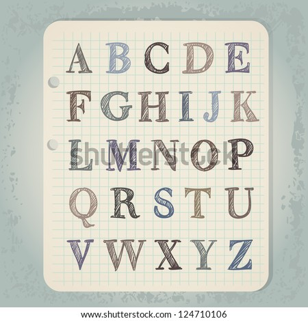 vintage hand drawn abc letters on notepad paper