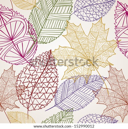 Vintage hand drawn autumn tree leaves seamless pattern background. EPS10 vector file organized in layers for easy editing. - stock vector
