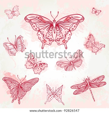 Vintage hand-drawn butterflies set - stock vector