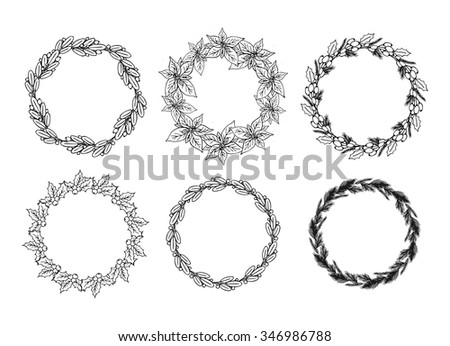 Vintage Hand Drawn Christmas Floral Wreath Set Holiday Frame With Place For Text Black
