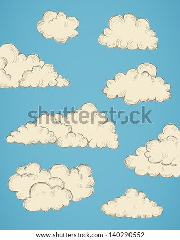 vintage hand drawn clouds eps10 vector illustration - stock vector