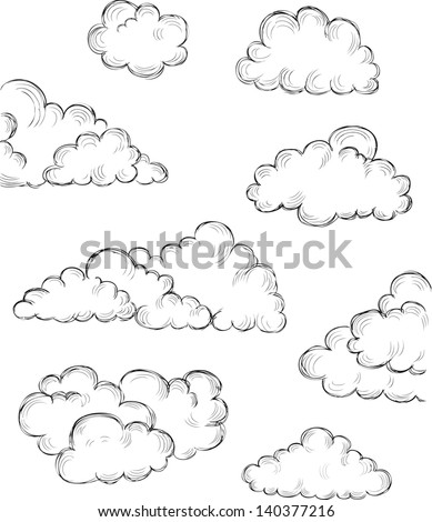 vintage hand drawn clouds eps8 vector illustration - stock vector