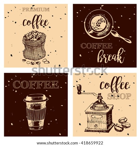 Vintage Hand Drawn Design Elements For Coffee Shop, Market, Cafe, Menu . Printable Typography for Card, Poster, Banner, T-shirt.