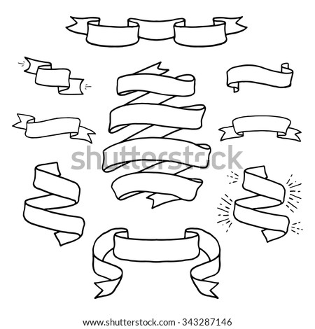 Vintage  hand drawn design elements set. Page decor banners ribbons. Decorative ornate frames.  Place for text message.Vector illustration.  - stock vector