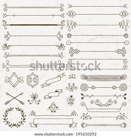 Vintage hand drawn design elements set 1. Vector illustration. - stock vector