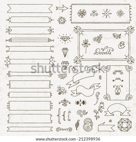 Vintage hand drawn design elements set 6. Vector illustration. - stock vector
