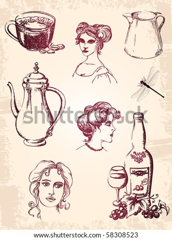 vintage hand-drawn  elements for design - stock vector