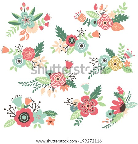 Vintage Hand Drawn Flowers Set  - stock vector
