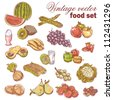Vintage hand-drawn food set with various fruit and vegetables - stock photo