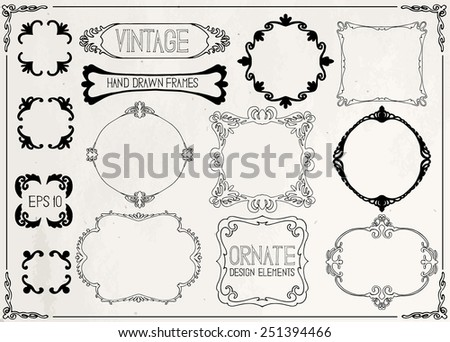 Vintage hand drawn frames on craft paper - stock vector