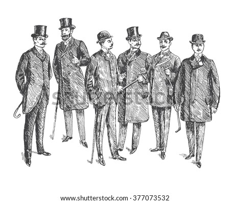 Vintage Hand Drawn Gentleman Set. Men's clothing. Retro Illustration in ancient engraving style - stock vector