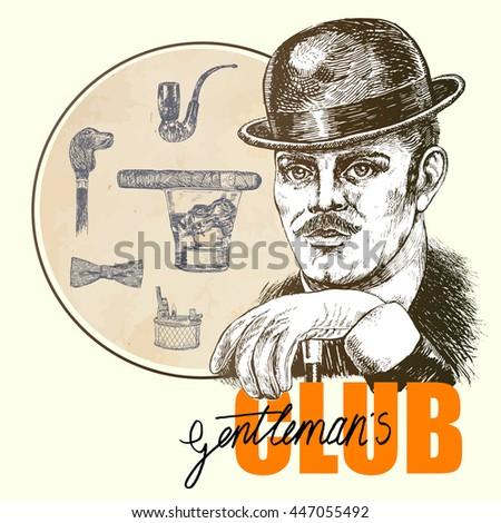 Vintage Hand Drawn Gentleman Set. Victorian Era, Gentleman's vintage accessories doodle collection. Pipe, lighter, glass with whisky, cigar, cane knob. Club Emblem - stock vector