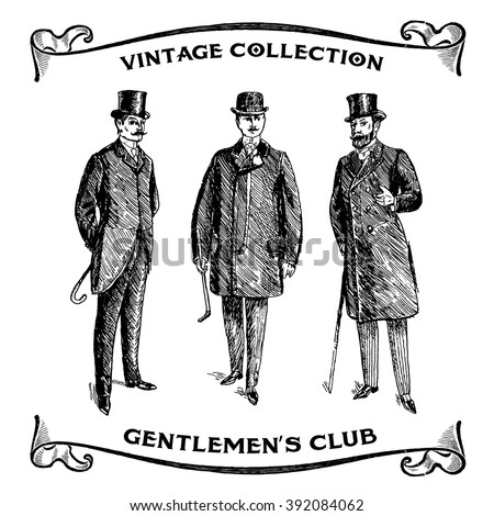 Vintage Hand Drawn Gentlemen Set. Male silhouettes retro1900s, 1920s. Men's clothing. Retro Illustration in ancient engraving style - stock vector