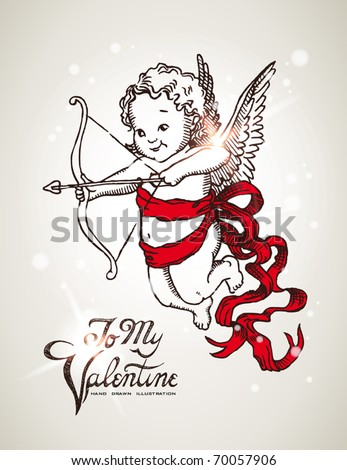 Vintage hand drawn postcard with cute cupid - stock vector