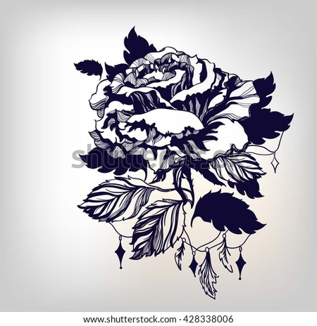 Vintage hand drawn rose with detailed petals and leafs. Floral element for tattoo design. Template for decoration. - stock vector