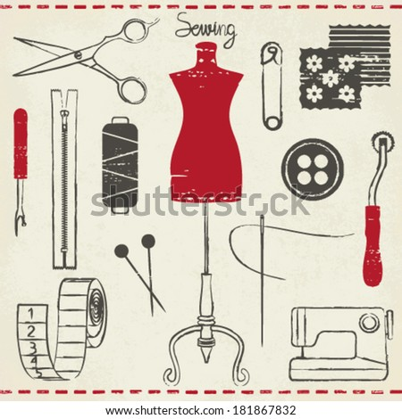 Vintage hand drawn sewing related symbols on paper background 2 - stock vector