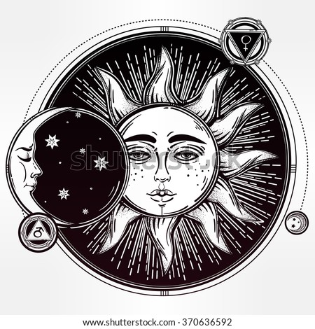 Vintage hand drawn sun eclipse with planets . - stock vector