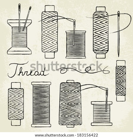 Vintage hand drawn thread spools and needles on old paper background - stock vector