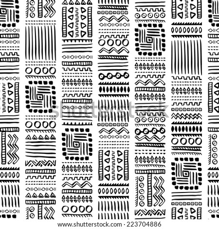 Vintage Hand Drawn Vector Ethnic Style Seamless Pattern - stock vector