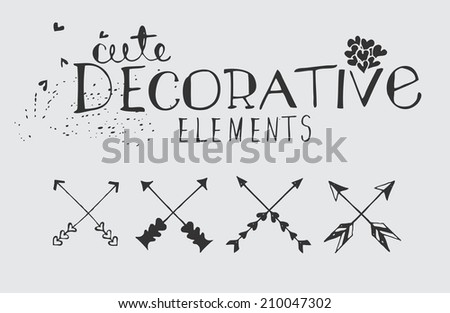 Vintage Hand Drawn Vector Illustration Set - stock vector