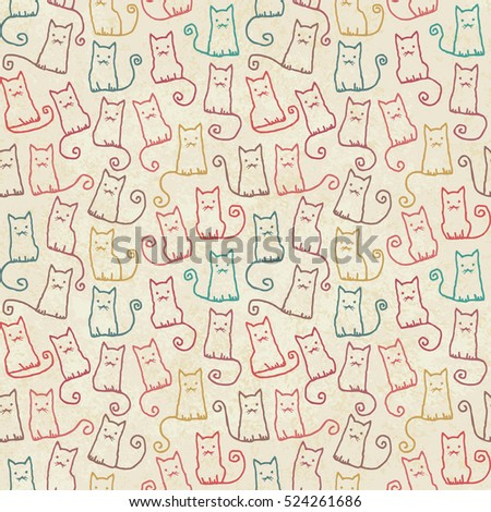 Vintage hand drawn vector seamless pattern with cats