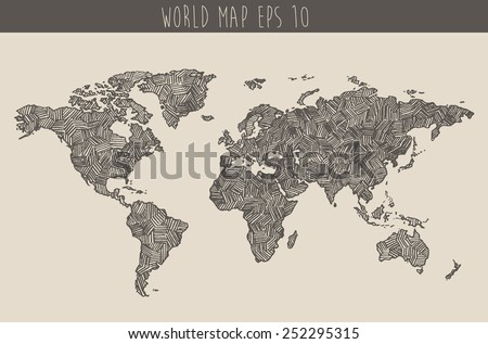 Vintage hand drawn world map vector stock vector 2018 252295315 vintage hand drawn world map vector illustration sketch gumiabroncs Images