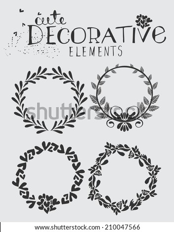 Vintage Hand Drawn Wreath with Floral Elements Vector Illustration - stock vector