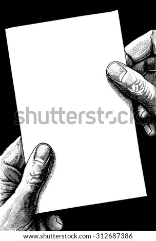 Vintage hand holding paper. Vector banner in ancient engraving style - stock vector