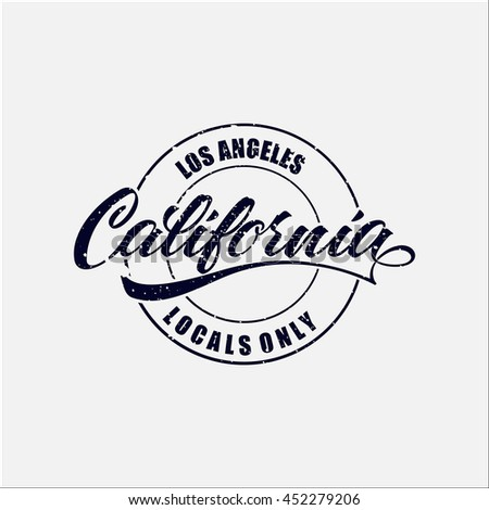 Vintage Hand Lettered Textured Los Angeles Stock Vector