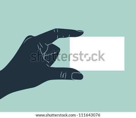vintage hand silhouette giving blank ID card - stock vector