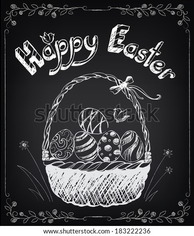 Vintage Happy Easter card with basket, eggs. Chalking, freehand drawing - stock vector