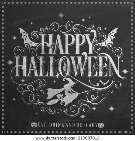 Vintage Happy Halloween Background On Chalkboard - stock vector