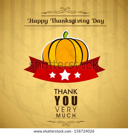 Vintage Happy Thanks giving background with pumpkin.  - stock vector