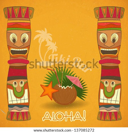 Vintage Hawaiian Tiki bar - cocktail and Tiki totem - vector illustration. - stock vector