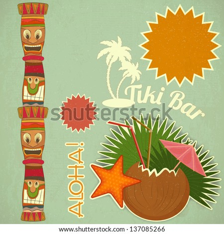 Vintage Hawaiian Tiki postcard - invitation to Tiki Bar with place for text - vector illustration - stock vector