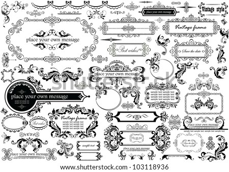 Vintage headers and frames - stock vector