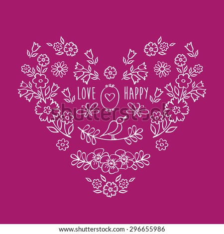 Vintage heart of flowers. The set of hand drawn decorative floral elements for Valentine's Day, mother's day, birthday, wedding. Doodles, sketch. Vector illustration. - stock vector