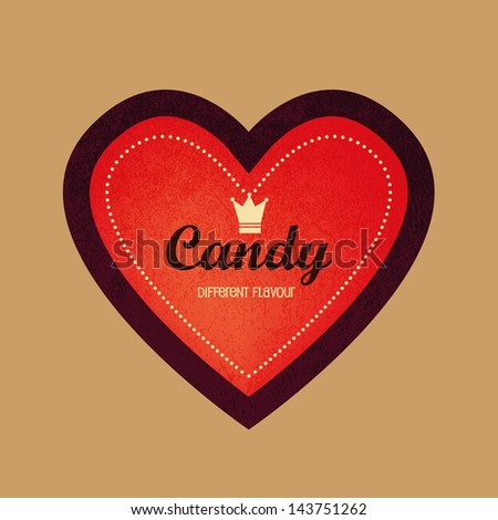 vintage heart shaped label and logo,  Ideal for candy,chocolate and sweet shop - stock vector