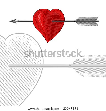 Vintage Heart with Arrow in engraving style.  All elements are grouped and separated. - stock vector