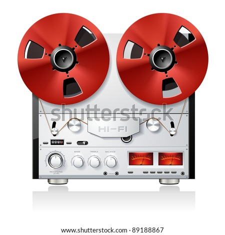 Vintage Hi-Fi analog stereo reel to reel tape deck player recorder detailed vector - stock vector