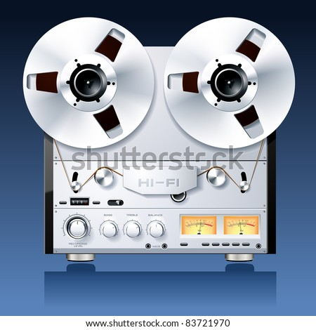 Vintage Hi-Fi analog stereo reel to reel tape deck player recorder vector - stock vector