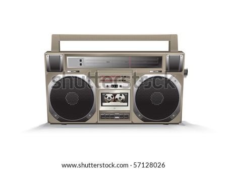 vintage high detailed vector tape recorder - stock vector