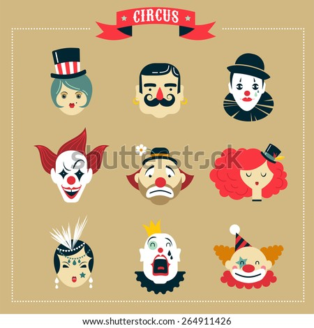 Vintage Hipster Circus, freak show icons and characters - stock vector