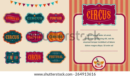 Vintage Hipster Circus labels set - stock vector