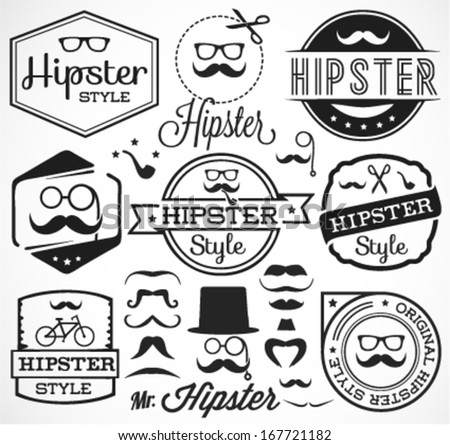 Vintage Hipster Labels and Badges - stock vector