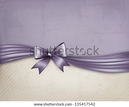 Vintage holiday background with gift bow and ribbon on old paper. Vector illustration. - stock vector
